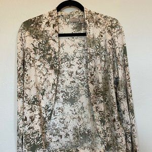 Easywear by Chico's Green Pink Floral Cardigan Md